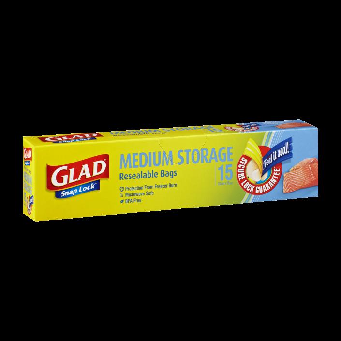 Glad® Snap Lock® Reseal Bags – Storage Medium 15pk